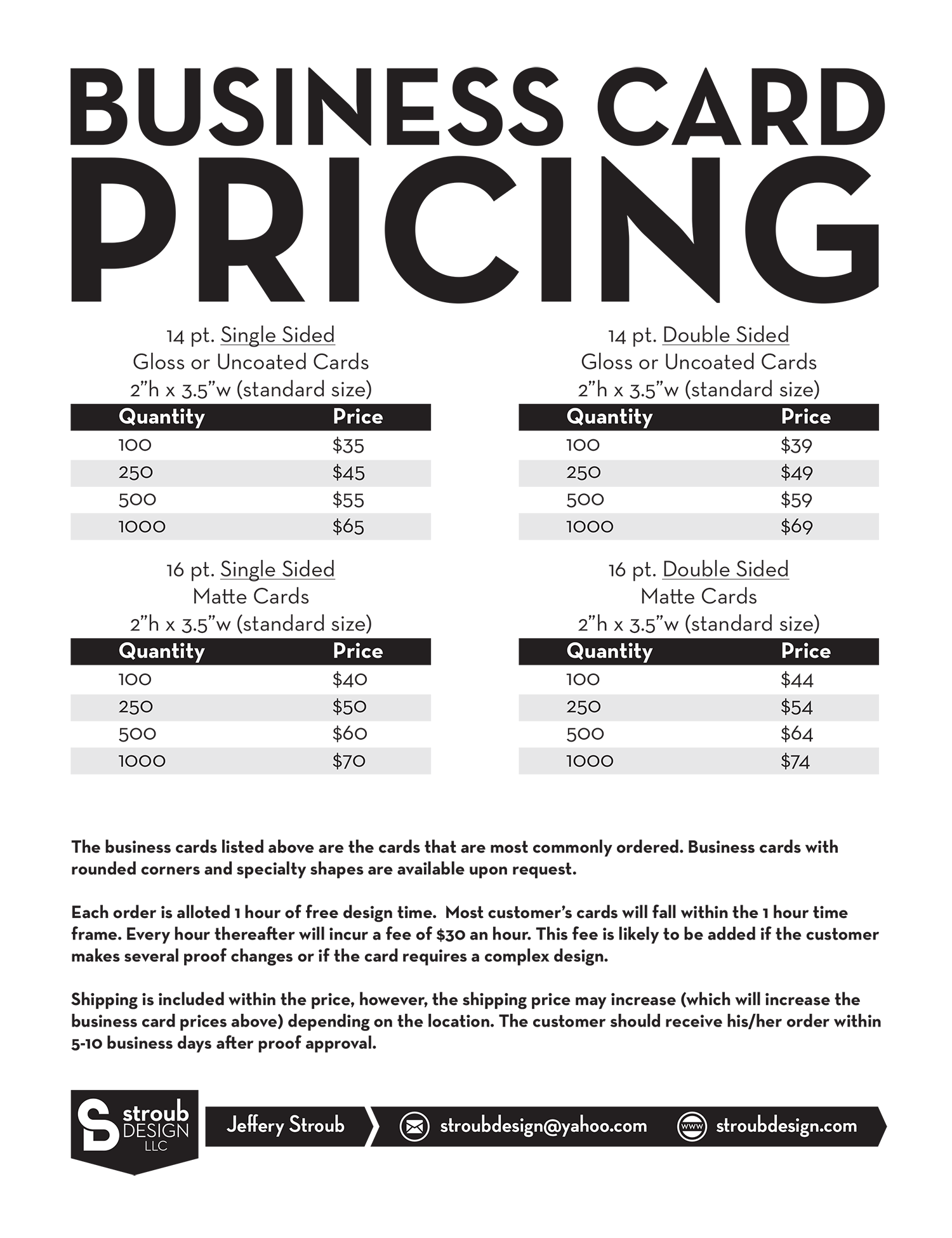 Business Card Pricing